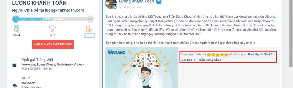 Tổng hợp những nhận xét khóa học UBrand của Lương Khánh Toàn